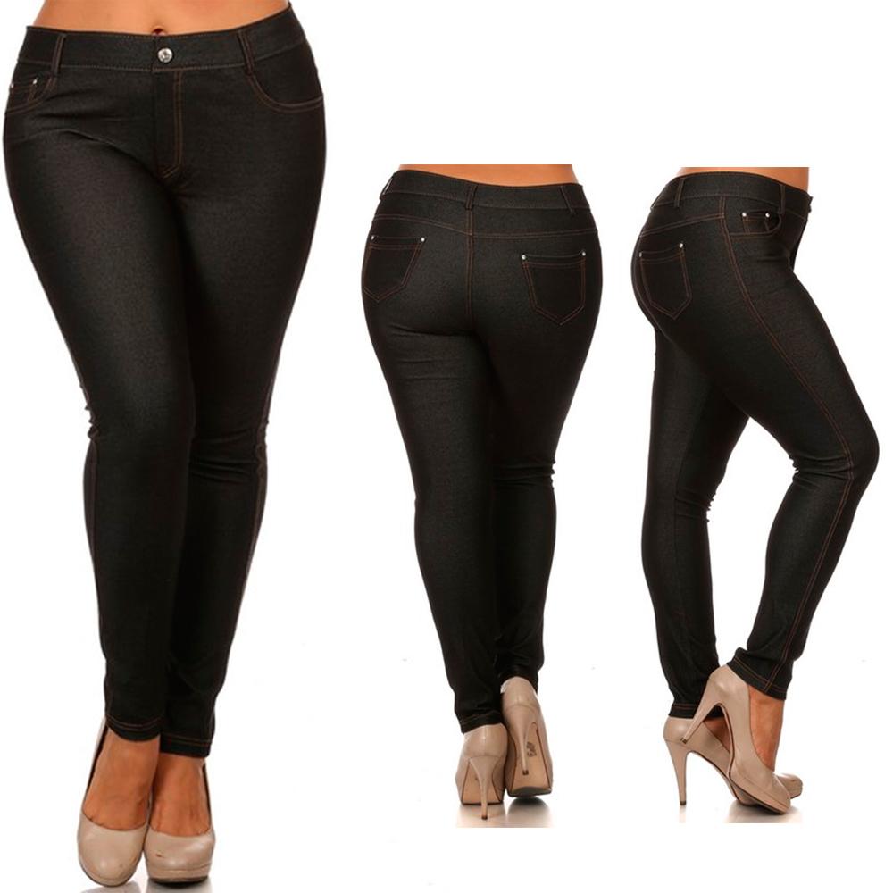 Womens Plus Size Jeans Look Skinny Slim Jeggings Stretch Pants XL ...