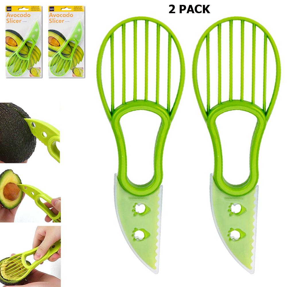 2 Pack Avocado Slicer Knife Kitchen Gadget Cutter Tool Peeler Seed Scoop Slices - $9.73